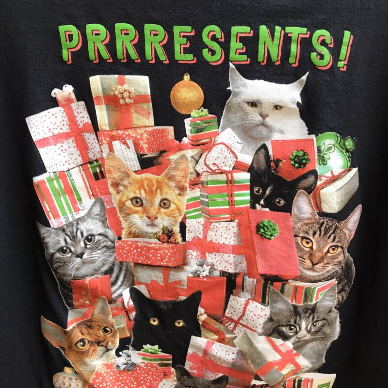 Cats Holiday Tee Prrresents Purrfect Xmas Ugly T Shirt Unisex Large Cotton Kitty