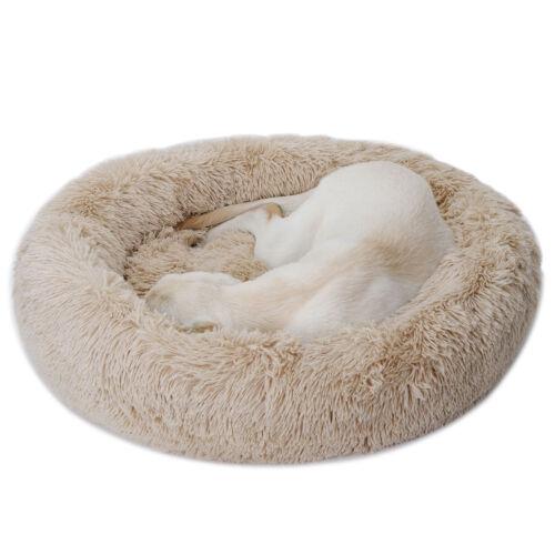 Fur Donut Cuddler Pet Calming Bed Dog Beds Soft Warmer Medium Small Dogs Cats Beds