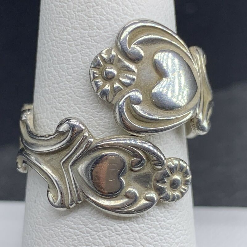 Vintage 925 Sterling Silver Spoon Ring With Hearts Size 6.5