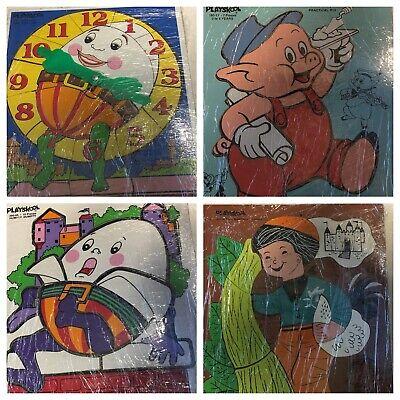 Lot of 4 Vintage PLAYSKOOL Wooden Puzzles Disney