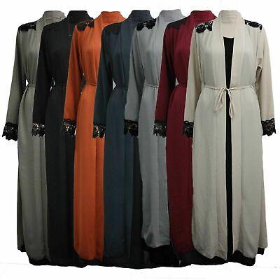 Womens Ladies Long Kimono Dress Abaya Open Abaya Maxi Style Lace Belted