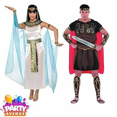 Gladiator Couples Costumes (Adults Couples Cleopatra Centurion Egyptian Gladiator Fancy Dress)