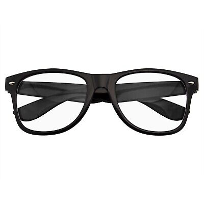 MENS WOMENS NERD BLACK GEEK GLASSES GLOSSY CLEAR LENS Clear frame sunglasses](Nerd Glasses Cheap)
