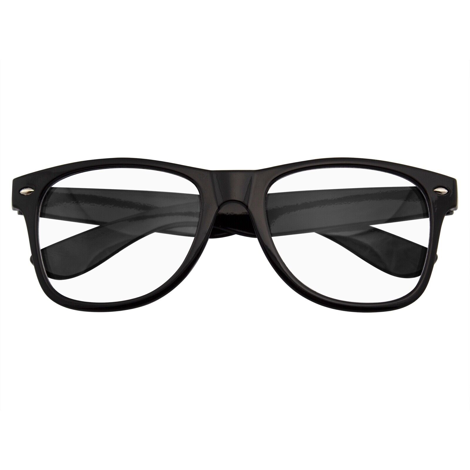 MENS WOMENS NERD BLACK GEEK GLASSES GLOSSY CLEAR LENS Clear