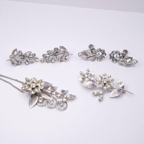 Krementz Parure Jewelry Set Brooch Earring Necklace White Gold Overlay Flower