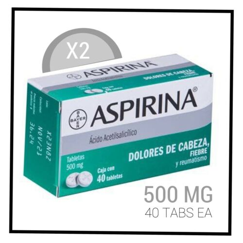 X2 Aspirina / Aspirin 500 mg - 40 tablets - Free shipping / Envío Gratis