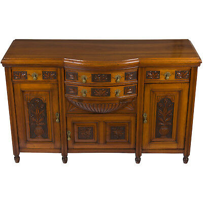(Antique Arts and Crafts Style Walnut Sideboard Buffet Server Cabinet Cupboard)