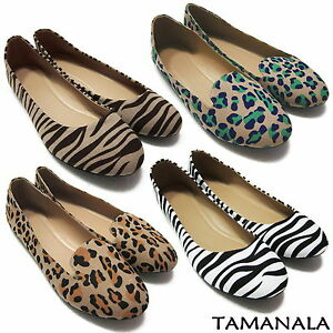 Pretty-Womens-Lady-Flats-Casual-Ballet-Ballerina-Comfort-Shoes-NEW-Leopard-Zebra