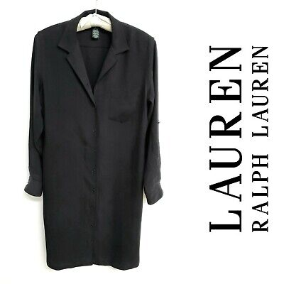 Ralph Lauren Black Silk Twill Roll-Tab-Sleeve Shirt Dress/Shirtdress~8/6