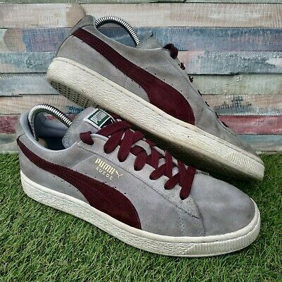 Puma Suede Classic Mens Trainers UK8 US9 EU42 Grey Burgundy Retro Vintage