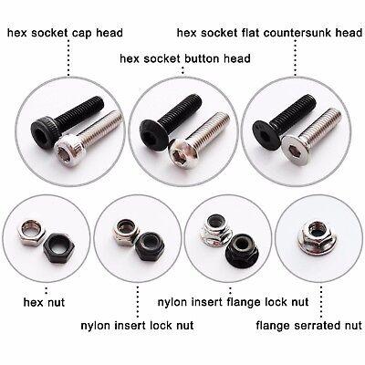 50X M2 M3 M4 M5 Hex Socket Allen Head Screw Bolt Self-locking Nylock Nut Locknut