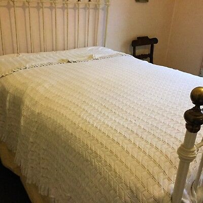 Antique Hand Crocheted White Cotton Crochet Large Bedspread