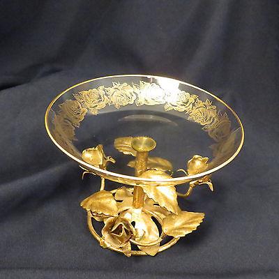 Flamingo Crystal Made in Holland - Glass Pedestal Bowl Ormolu Rose Base MCM gold
