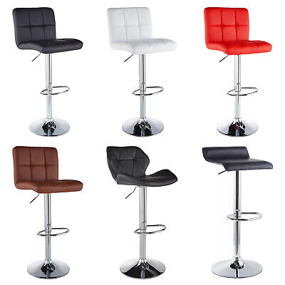 - SET of 4 Counter Height PU Leather Bar Stools Adjustable Swivel Dinning Chairs