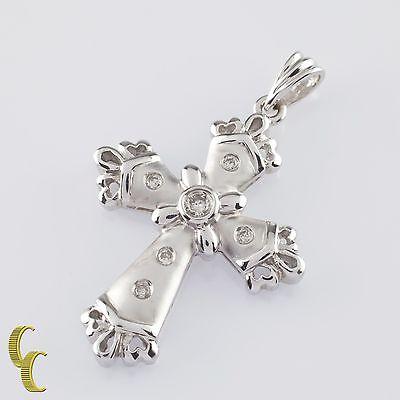 Gorgeous 14k White Matte Gold Cross Pendant w/ 0.15 ct Flush Set Round Diamonds ()