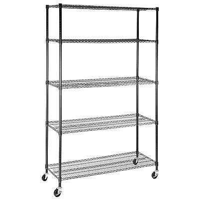 Adjustable 5 Tier Layer Wire 82x48x18 Shelving Rack Heavy Duty Steel Shelf