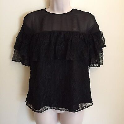 GUESS Womens Lace Blouse Size XS Black Ruffle Sleeves New, used for sale  Shipping to India