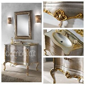 Mobile bagno barocco veneziano foglia argento top cristal - Mobile bagno barocco ...