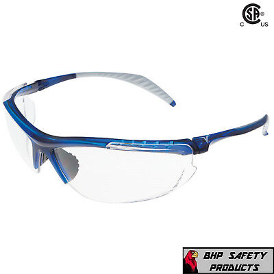 Encon Wraparound Veratti 307 Safety Glasses Clear Lens Translucent Blue Frame