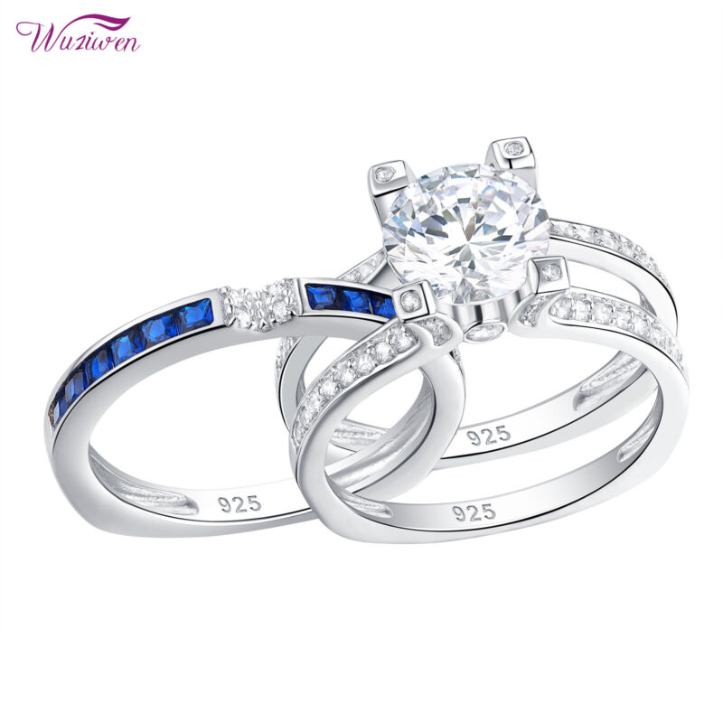Wuziwen 2.5ct Round Aaaa Cz Blue 925 Sterling Silver Wedding Engagement Ring Set