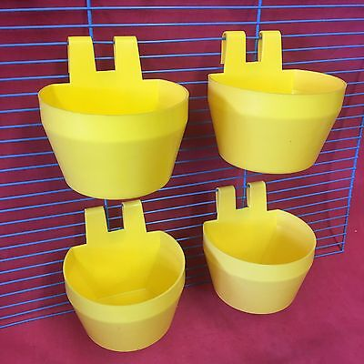 PIGEONS CHICKENS HENS CUPS Cage Clip On Water Food Bowl Countainer 2 Hook 9.5cm