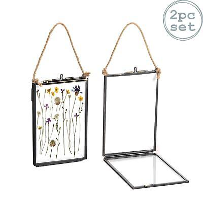 Hanging Photo Frame Vintage Glass Picture Wall Display - 4x6 Photos - Pack of 2