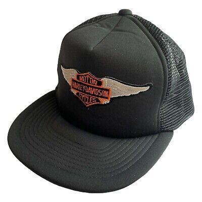 Vintage 80s Harley Davison Motorcycles Black Snapback Mesh Trucker Hat Biker
