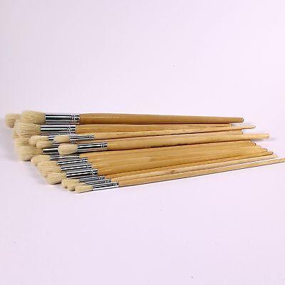 Long Handled Paint Brush Easy Hold Hog Bristle Round Tip 30 Mixed Applicators