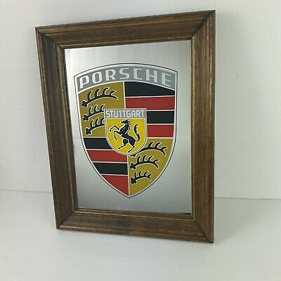 Vintage Porsche Stuttgart Shield Logo Advertising Wood Framed Wall Mirror RARE