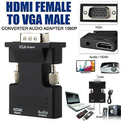 HDMI Female To VGA Male Converter Adapter Lead 1080P Stereo Audio Output