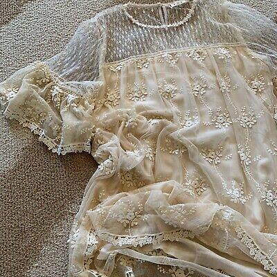 L Bohemian Lace Summer Dress Crochet Vtg 70s Insp Beach Ivory Wedding NWT LARGE