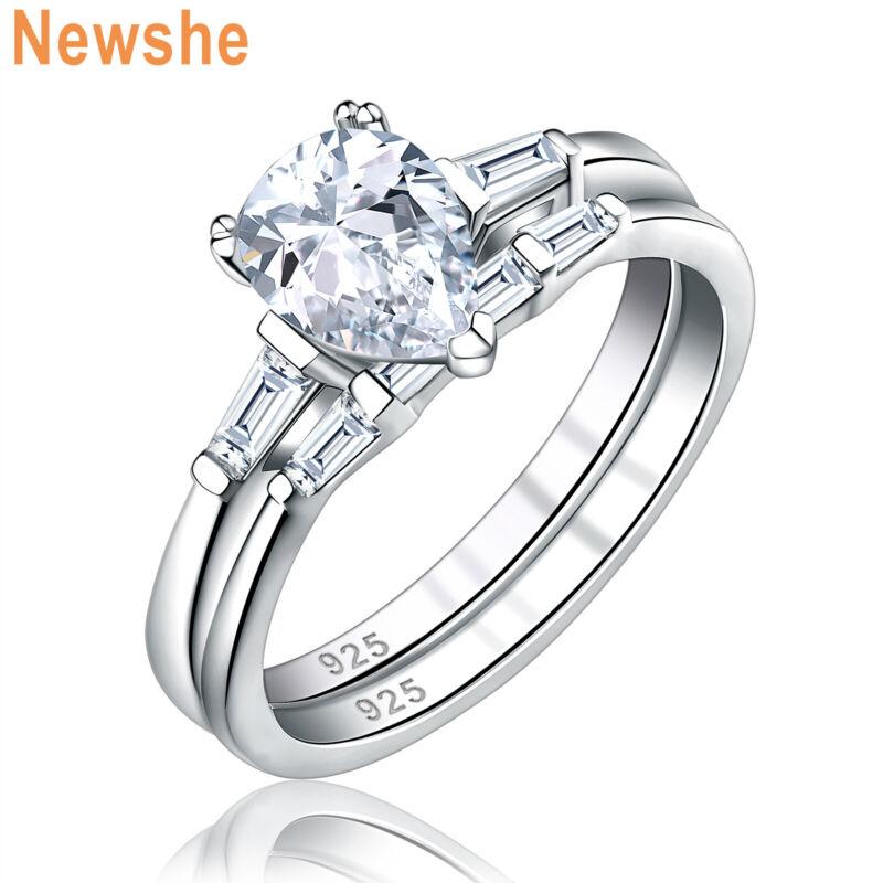 Newshe Wedding Engagement Ring Set For Women Pear White Cz Sterling Silver 5-12