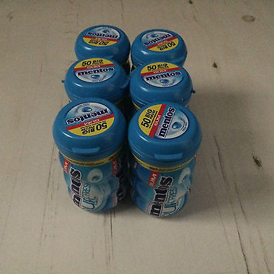 Mentos Pure Freshmint with Green Tea Extract Chewing Gum 50 Piece Pot x6