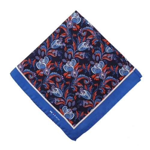 Kiton Midnight Navy Red and Blue Intricate Floral Print Silk Pocket Square