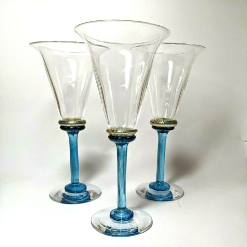 Set of 3 WELMO Art Glass Studio Blue & Gold SOMMELIER Wine Glasses Quebec Canada