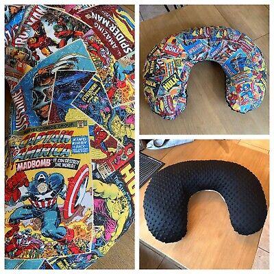 Boppy Nursing Pillow Cover Handmade Superhero Marvel Comic Black Minky