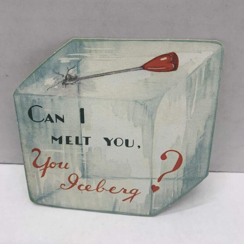 Vintage Valentine's Day Card 1942 Ice Block with ice pick