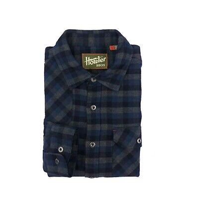 HOWLER BROS Huckberry Harker's Flannel Plaid Grey Blue Shirt Small