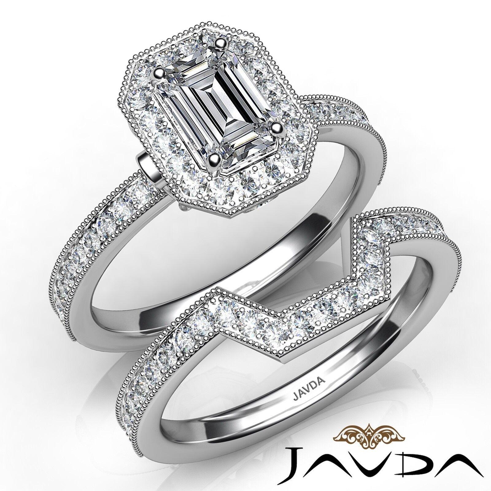 1.8ctw Milgrain Halo Bridal Set Emerald Diamond Engagement Ring GIA F-VS1 W Gold