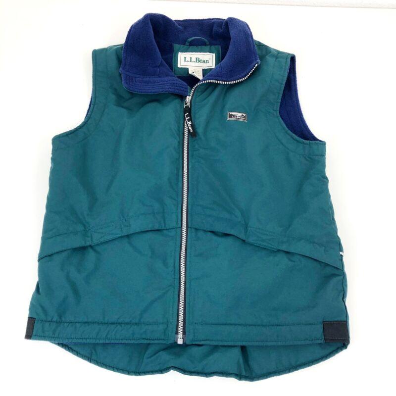 L.L. Bean Boys Fleece Lined Vest Blue Green Size 10/12