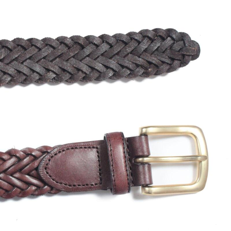 mens braided leather belt ebay