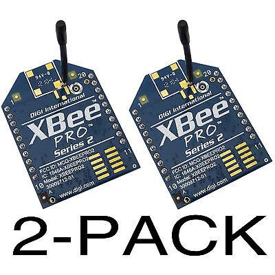 2-Pack Digi XBee-PRO S2 (Series 2) Zigbee module. Wire antenna. XBP24-SEWIT-600J
