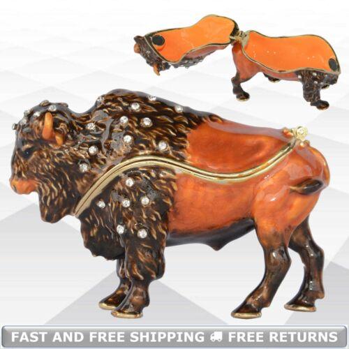 Bison Animal Enamel Hinged Trinket Box Small Jewelry Ring Pill Storage Ornament