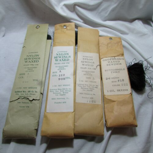 Antique Lot of 4 Gudebrod Bros Silk Co. Nylon Sewings Waxed Thread, US Military