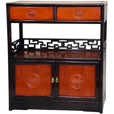 Oriental Rosewood Furniture - Oriental Furniture Rosewood Long Life Display Cabinet - Two-tone