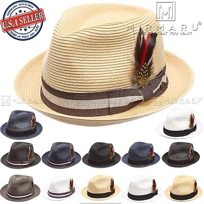 Men Women Lightweight Vented Pork Pie Trilby Fedora Hat with Removable Feather (Felt Hat With Feather)