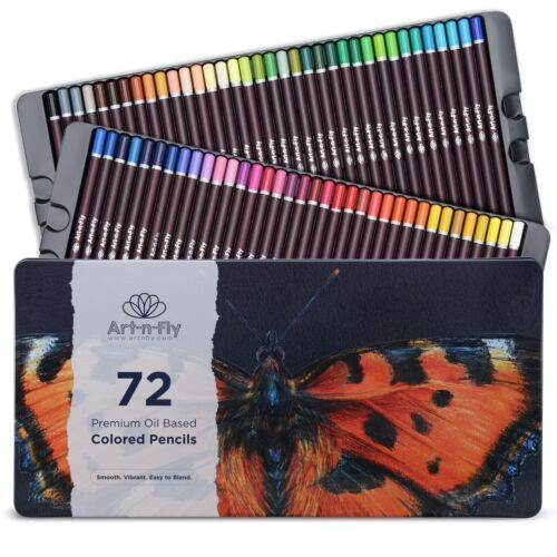 72 Professional Oil Based Colored Pencils for Artist in Metal Case