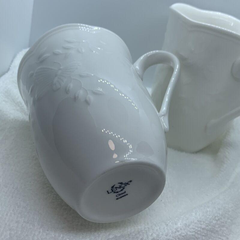 Lenox BUTTERFLY MEADOW CLOUD Mug Set of 2 EUC white