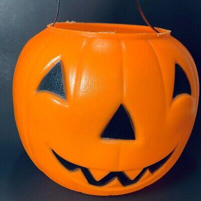 "Vintage 80s Empire Blow Mold Jack O Lantern Candy Bucket Orange Pumpkin Pail 9"""