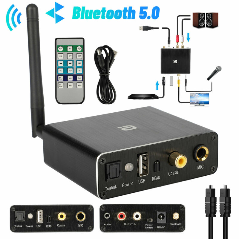 192KHZ DAC Audio Converter Digital Optical To Analog with Bluetooth 5.0 Receiver